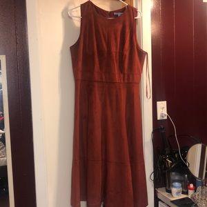Burnt orange suede dress